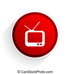 tv flat icon with shadow on white background, red modern...