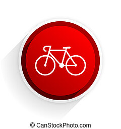 bicycle flat icon with shadow on white background, red...