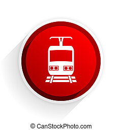train flat icon with shadow on white background, red modern...