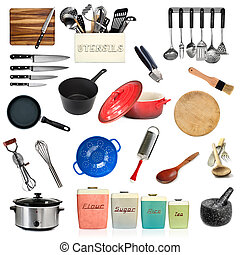 Collection of Kitchen Utensils Isolated
