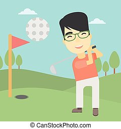 Golfer hitting the ball vector illustration.