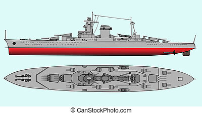 Military navy ships - Vector art illustration of battleship