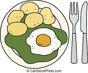 Spinach, egg and potatoes - Funny hand drawing of a spinach...