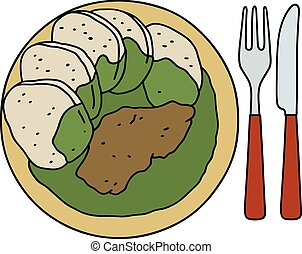 Spinach with dumplings - Funny hand drawing of a spinach...