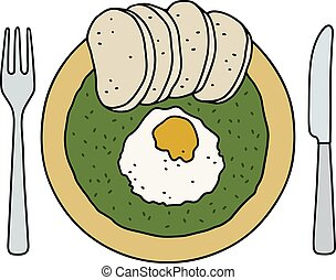 Spinach, egg and dumplings - Funny hand drawing of a spinach...