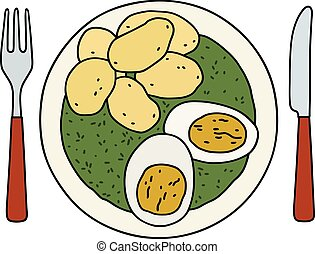 Spinach, eggs and potatoes - Funny hand drawing of a spinach...