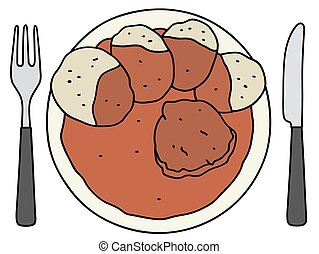 Tomato sauce with dumplings - Funny hand drawing of a tomato...