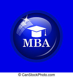 MBA icon. Internet button on blue background.