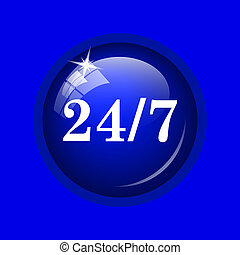 24 7 icon. Internet button on blue background.