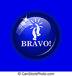 Bravo icon Internet button on blue background