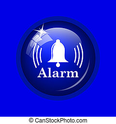 Alarm icon Internet button on blue background