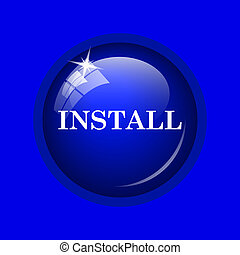 Install icon Internet button on blue background