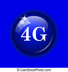 4G icon. Internet button on blue background.