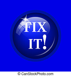 Fix it icon. Internet button on blue background.
