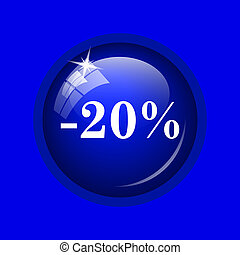 20 percent discount icon Internet button on blue background...