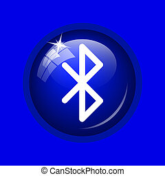Bluetooth icon. Internet button on blue background.