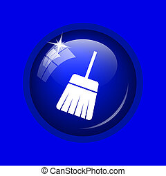 Sweep icon Internet button on blue background