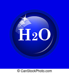 H2O icon. Internet button on blue background.