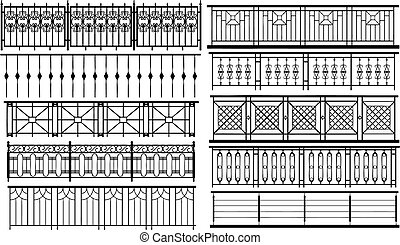 Collection of fences (vector) - Collection of fences made in...