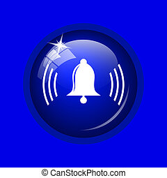 Bell icon Internet button on blue background