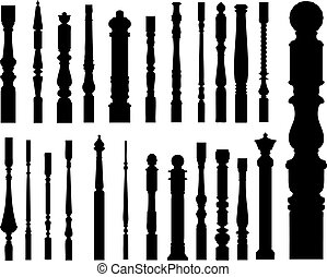 Collection of banisters (vector) - Collection of banisters...