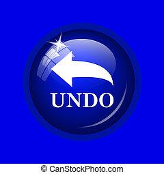 Undo icon. Internet button on blue background.