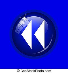 Rewind icon Internet button on blue background