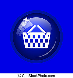 Shopping basket icon Internet button on blue background