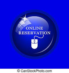 Online reservation icon Internet button on blue background