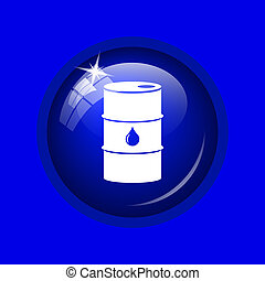 Oil barrel icon Internet button on blue background