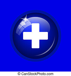Medical cross icon Internet button on blue background