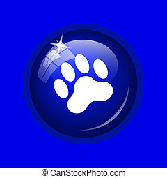 Paw print icon Internet button on blue background