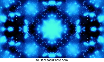 Blue on black Kaleidoscope particle - Animated blue on black...