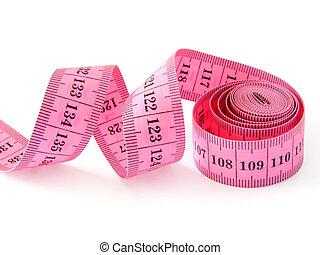 measuring tape - pink measuring tape on white...