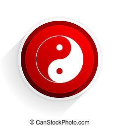ying yang flat icon with shadow on white background, red...