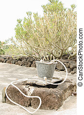 Stone cistern and metal bucket - Vintage stone cistern and...