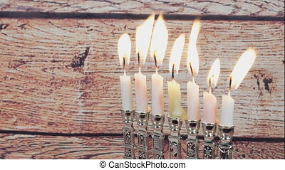 The Jewish holiday of Hanukkah. Hanukkah candles Jewish...