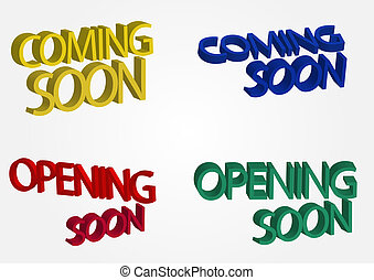 Coming soon 3 d text isolated on simple background.