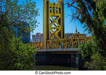 Tower Bridge Sacramento California - Vertical lift bridge...