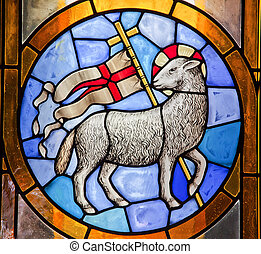 Lamb with Cross Stained Glass Duomo Basilica Cathedral,...