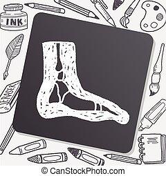 radiografía, pie, garabato