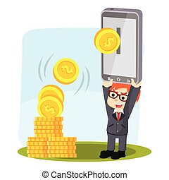 businessman holding phone for ebanking