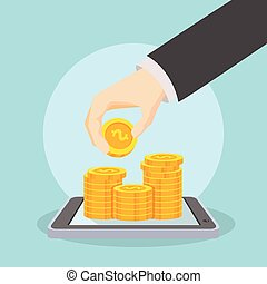 successfuly stacking coin on screen - businessman...