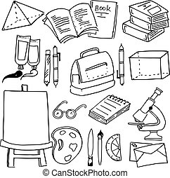 For kids school object doodles