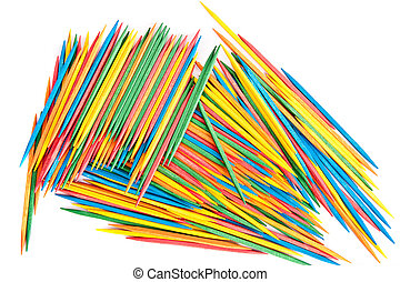 Many Colored Toothpicks - Many colored toothpicks on white...