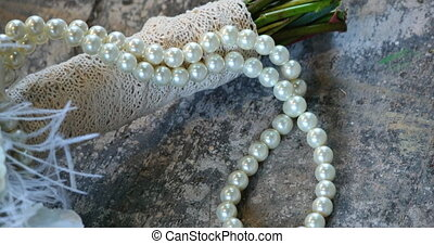 Wedding bouquet of roses and pearl necklace. - Wedding...