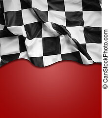 Checkered flag - Checkered black and white flag on red...