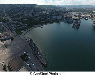 Top view of the marina and quay of Novorossiysk. Urban...