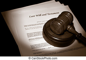 judges legal gavel on Last Will documents