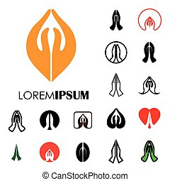 collection of indian womans hand greeting posture of namaste - vector logo icons